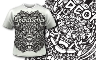 T-shirt design 340 – Bali Demon T-shirt Designs and Templates vector