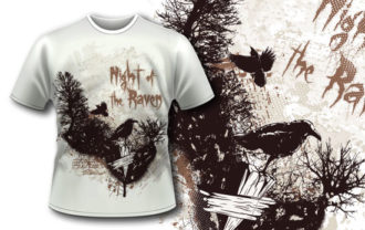 T-shirt design 343 – Ravens in Charred Forest T-shirt Designs and Templates vector