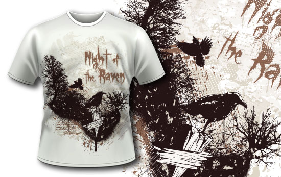 T-shirt design 343 - Ravens in Charred Forest products designious t shirt design 343 1