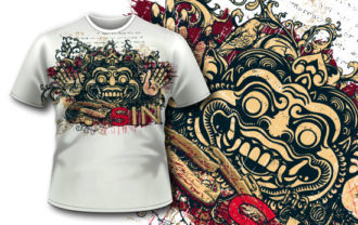 T-shirt design 344 – Bali Demon T-shirt Designs and Templates vector