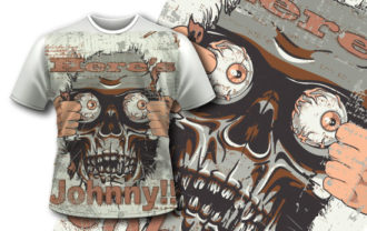 T-shirt design 347 – Mad Skull T-shirt Designs and Templates vector