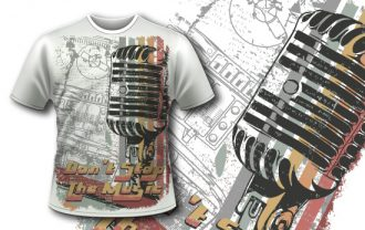 Free T-shirt design 353 – Retro Microphone Freebies DERAJ