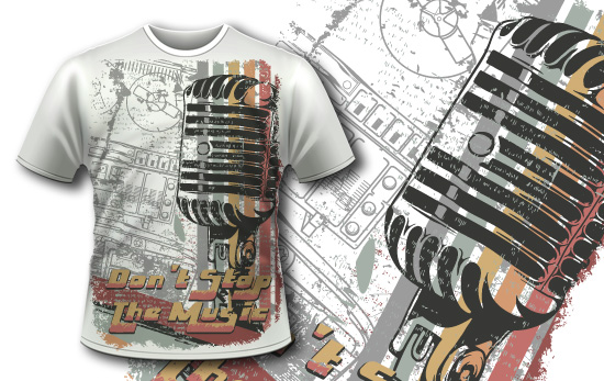 Free T-shirt design 353 - Retro Microphone products designious t shirt design 353 1