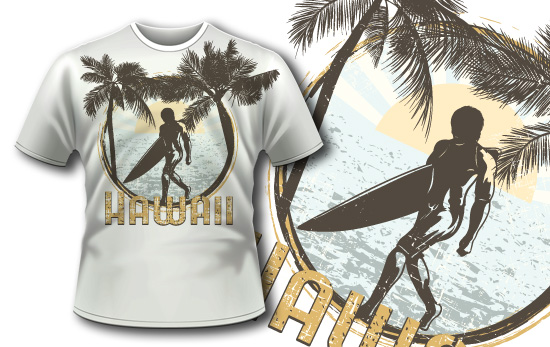 T-shirt design 354 – Surfer on Beach T-shirt Designs and Templates palm