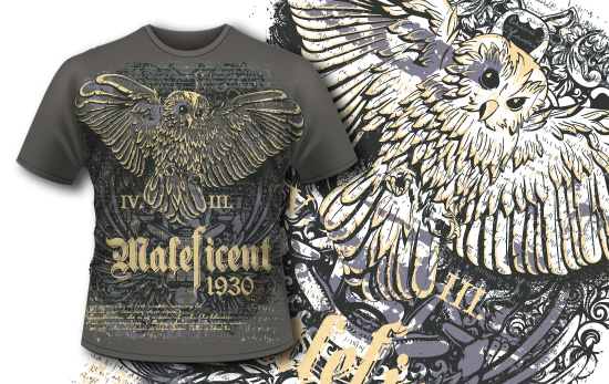 T-shirt design 357 – Owl and Bali Demon T-shirt designs and templates vector