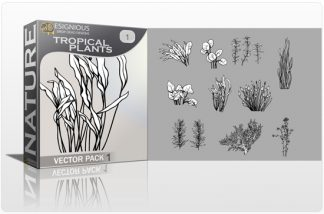 Tropical Plants Vector Pack 1 Nature vector cutter plotter ready