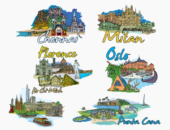 Famous Cities Vector Pack 11 Buildings [tag]