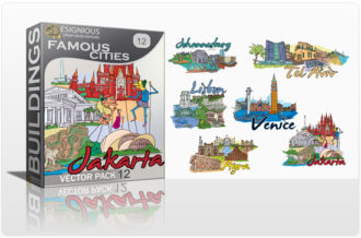 Famous Cities Vector Pack 12 Buildings [tag]