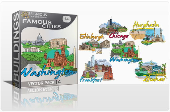 Famous Cities Vector Pack 14 Buildings [tag]