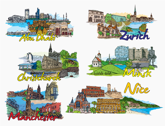 Famous Cities Vector Pack 15 Buildings [tag]
