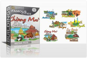 Famous Cities Vector Pack 16 Buildings [tag]