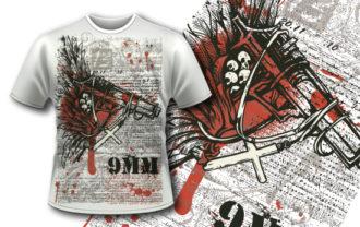 T-shirt design 366 – Gun with Cross T-shirt Designs and Templates vector