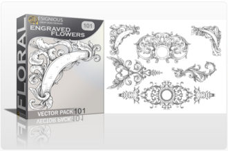 Full library Pricing products designious floral vector pack 101 engraved flowers preview 1