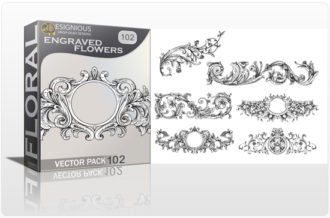 Full library Pricing products designious floral vector pack 102 engraved flowers preview 1