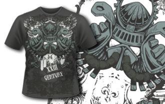 T-shirt design 371 – Samurai Helm T-shirt Designs and Templates vector
