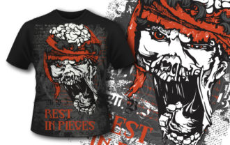 T-shirt design 372 – Zombie Head T-shirt Designs and Templates vector
