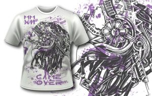 T-shirt design 373 – Steampunk Helmet T-shirt designs and templates vector