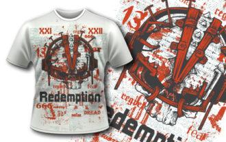 T-shirt design 376 – Reinforced Skull T-shirt Designs and Templates vector