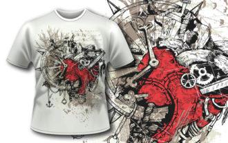 T-shirt design 379 – Steampunk Heart T-shirt Designs and Templates vector