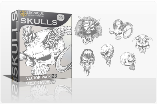 Skulls Vector Pack 23 products designious skulls vector pack 23 preview 1