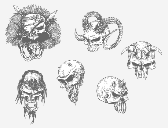 Skulls Vector Pack 23 products designious skulls vector pack 23 preview 2