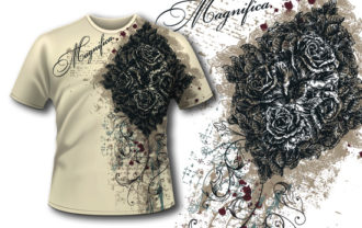 T-shirt design 383 – Vintage Roses T-shirt Designs and Templates vector