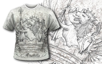 T-shirt design 384 – Vintage Lion T-shirt Designs and Templates vector