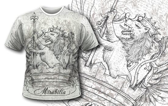 T-shirt design 384 – Vintage Lion T-shirt Designs and Templates vector