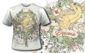 T-shirt design 385 – Vintage Dragon T-shirt Designs and Templates vector