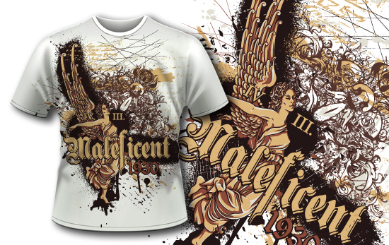 T-shirt design 386 – Vintage Angel T-shirt Designs and Templates vector
