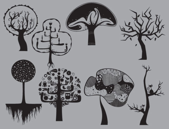 Abstract trees vector pack 3 Nature vector cutter plotter ready