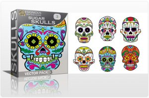 Sugar Skulls Vector Pack 3 Skulls halloween