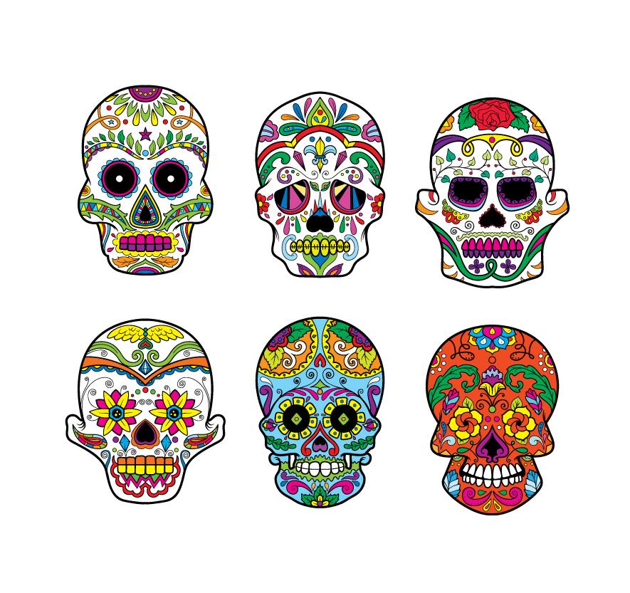 Sugar Skulls Vector Pack 3 Skulls halloween