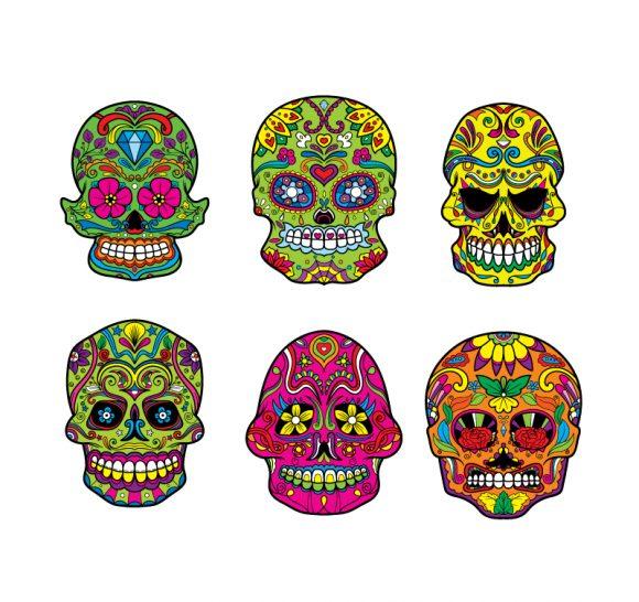 Sugar Skulls Vector Pack 4 products designious sugar skulls vector pack 4