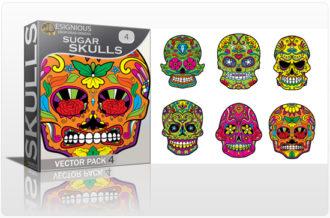 Sugar Skulls Vector Pack 4 Skulls halloween