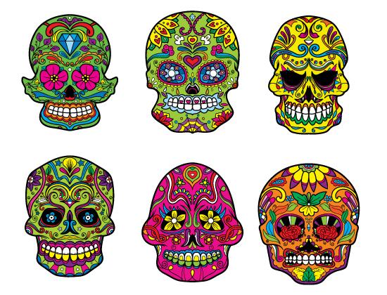 Sugar Skulls Vector Pack 4 products designious sugar skulls vector pack 4 preview 2