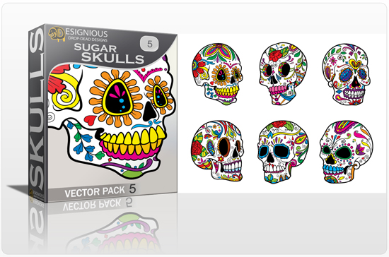 Sugar Skulls Vector Pack 5 products designious sugar skulls vector pack 5 preview 1