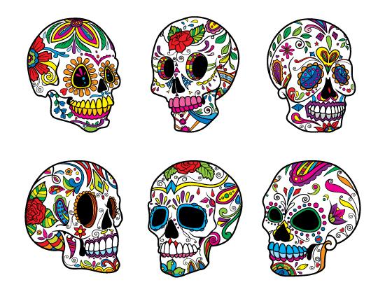 Sugar Skulls Vector Pack 5 products designious sugar skulls vector pack 5 preview 2