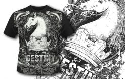 T-shirt design 391 – Vintage Crest with Flowers T-shirt designs and templates vector