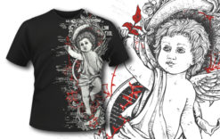 T-shirt design 392 – Engraved Angel T-shirt designs and templates vector