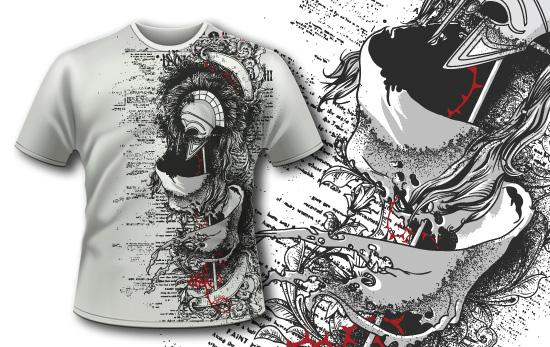 T-shirt design 393 – Helmet on Battle Standard T-shirt designs and templates vector