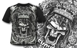 T-shirt design 397 – Evil Skull with Crown Freebies DENKATA