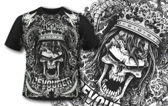 T-shirt design 397 – Evil Skull with Crown Freebies DENKATA