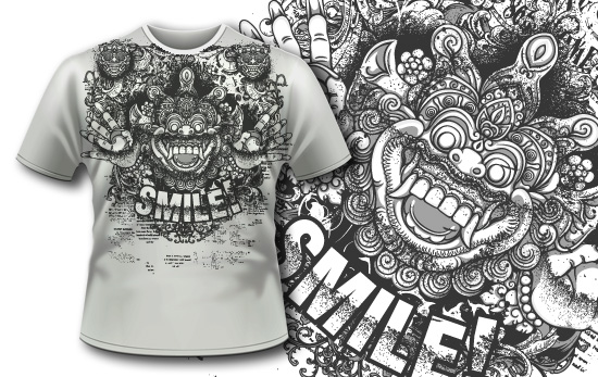 T-shirt design 398 - Bali Demon and Flowers products designious tshirt design 398