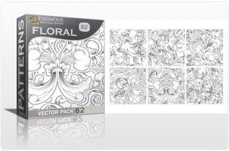 Seamless Patterns Vector Pack 62 – Floral Chaos Engraved Vector Patterns [tag]
