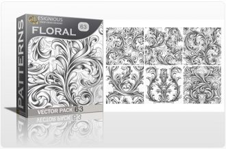 Seamless Patterns Vector Pack 63 – Floral Chaos Engraved Vector Patterns [tag]
