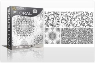 Seamless Patterns Vector Pack 67 – Floral Chaos Engraved Vector Patterns [tag]