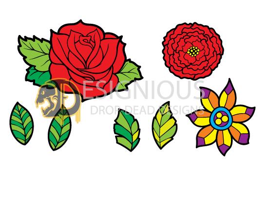 Floral Vector Pack 103 – Sugar Flowers Floral halloween