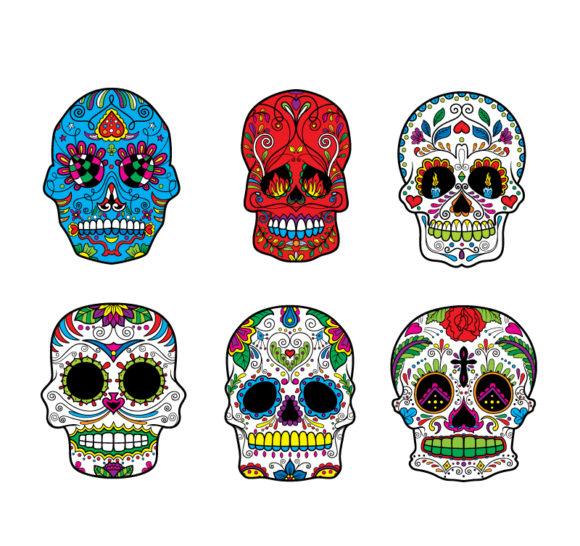 Sugar Skulls Vector Pack 6 Skulls halloween