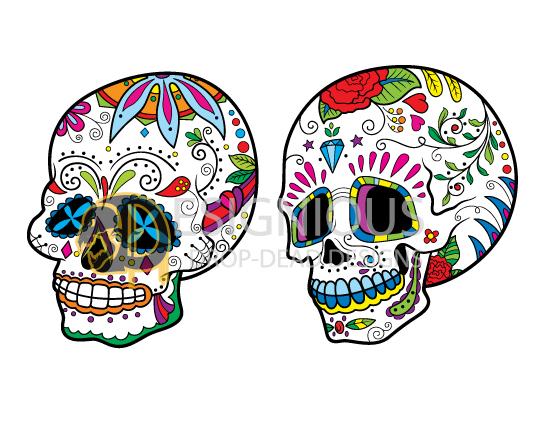 Sugar Skulls Vector Pack 7 Skulls halloween